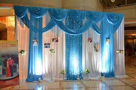wedding backdrop blue 3 4m wedding party silk fabric drapery white with blue color