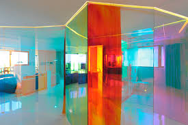 colorful transparent glass wall partition luxury modern apartment