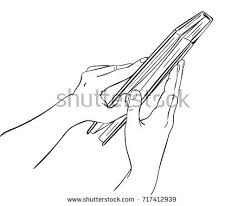 sketch hands open book first person stock vector 717412939