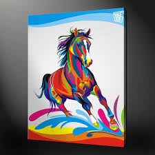 abstract horse quality canvas print picture wall art design free