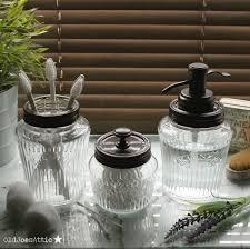 kilner vintage glass preserve jar bathroom set with bronze