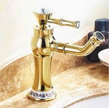 gold bathroom faucet high end swan shaped gold unique
