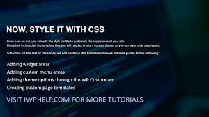 how to quickly create a custom wordpress theme with only css