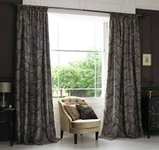 Black Grey And White Curtains Ideas Interior Charming Decorating Ideas Using Brown Fabric Club Chairs