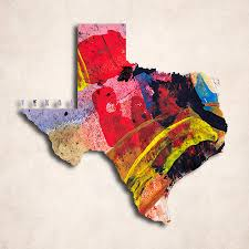 World Map Art Print by Texas Map Art Painted Map Of Texas Digital Art By World Art