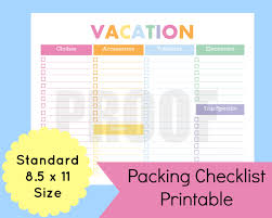 College Toiletries Checklist Gallery For U003e Vacation Packing Checklist Template Vacation