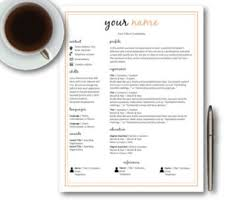 Templates For Resumes And Cover Letters Resume Template Word Etsy