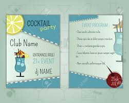summer cocktail party flyer layout template with blue lagoon
