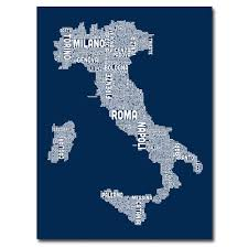 Italy City Map by Italy City Map Ii By Michael Tompsett Textual Art On Wrapped