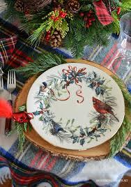 Christmas Hurricane Centerpiece - christmas table with tartan plaid and hurricane centerpiece with