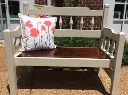 repurposed headboard to bench painted with general finishes linen