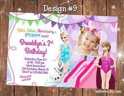 frozen summer water slide birthday party photo invitations custom