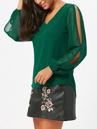green chiffon blouse 2018 chiffon v neck slit sleeve blouse green s in blouses