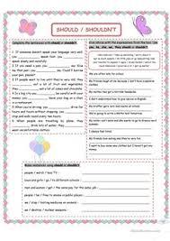 122 free esl should shouldn u0027t worksheets