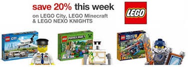target black 20 percent friday coupon target 20 off lego city lego minecraft and lego nexo knights sets
