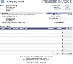 Microsoft Excel Receipt Template Free Itemized Invoice Template Excel Pdf Word Doc