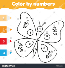 coloring page butterfly color by numbers stock vector 709335805