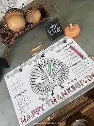 thanksgiving placemat kids free printable diy activity placemat