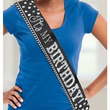 happy birthday sash black white happy birthday sash 1 5m 6 pkg amscan international