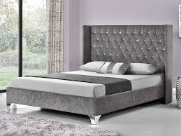 drogo double silver chenille fabric bed frame