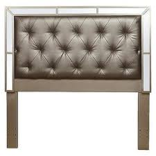 silver queen or full size upholstered tufted mirrored headboard
