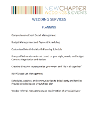Wedding Planning Schedule Lovable Wedding Planner Services List Weddings New Chapter