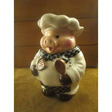 happy pig chef cookie jar pig cook cookie by 4getmenottreasures