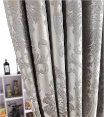 Silver Window Curtains Jacquard Window Curtains Heavy Fabric With Silver Wire Embed 60