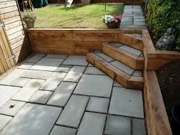 courtyard paving with oak sleeper retaining wall portslade east