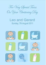 Christening Card Invitations Personalised Boy Twins Christening Card
