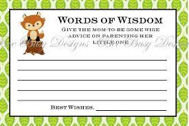 Words Of Wisdom Cards Printable Woodland Fox Words Of Wisdom Baby Shower Advice Cards