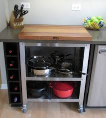 impressive kitchen portable island bench with wine rack in kitchen