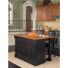 Stationary Kitchen Island by Home Styles Monarch Black Kitchen Island With Seating 5008 948