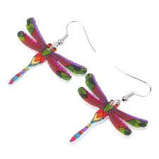 bonsny pop art woodland dragonfly large statement long drop dangle