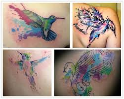 2014 wonderful watercolor bird tattoo on shoulder blade musical
