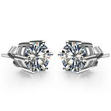 black diamond studs 1ct classic 6 prongs brand earrings lc diamond stud earrings