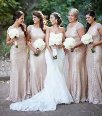 Dusty Rose Wedding Dress New 2015 Bridesmaid Dresses Gold Sequins Cap Sleeve Crew Neckline