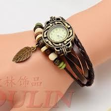 vintage leather bracelet watches images Handsome women 39 s leather bracelet watches with vintage leaf jpg