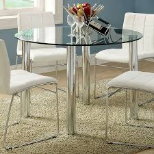 Glass Round Dining Room Table Shop Furniture Of America Kona Tempered Glass Round Dining Table
