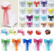 Chair Bows For Weddings Online Cheap Colorful Organza Chair Sashes Wedding Party Banquet