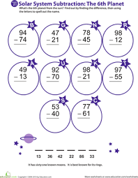 solar system subtraction 6th planet worksheet education com