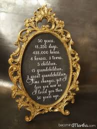60th wedding anniversary ideas gold and glittered frame and print 50th anniversary decor