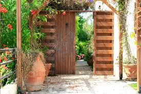 vintage door entrance to the backyard stock photo picture and