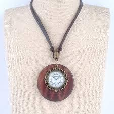 vintage necklace pendant images Vintage jewelry statement necklaces pendants wooden resin clock jpg
