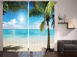amazon com tropical beach decor curtains by ambesonne coconut