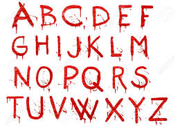 letters dripping with blood on white background stock photo