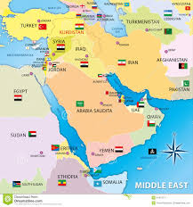 Middle East Map Capitals by Middle East Map With Flags Stock Illustration Image 41974717
