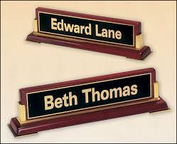 Promotional Desk Accessories Rosewood Piano Finish Nameplate 10 5 8 Wide X 2 3 4