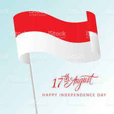 indonesia happy independence day greeting card with waving