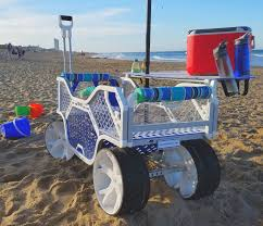 Ll Bean Beach Umbrella by Beach Cart With Wide Wheels To Cruise Over The Sand A Moveable